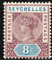 Seychelles 1890 brown-purple/blue 8c crown CA Die I mint SG3
