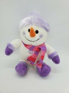 """9"""" Snowman Witg Purple Pink Scarf Snowflakes Purple Hat Beanie Carrot Nose"""