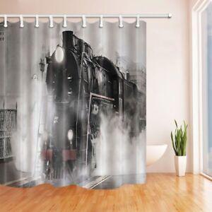 "Steam Engine Train on Rail Road with Smoke Waterproof Fabric Shower Curtain 71"""