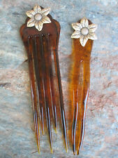 """Set Sunflower Chignon Pins Faux Tortoise Shell 5 5/8"""" & 5"""" Made In USA NEW"""