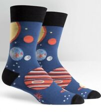"SOCK IT TO ME Mens' ""PLANETS"" Novelty Crew Socks - NAVY - NEW - OUTER SPACE"