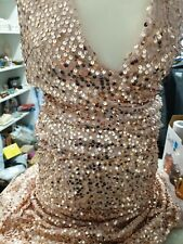 Full Length Rose Gold Sequined Dress Size M