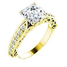1 carat Asscher cut Diamond Engagement 14k Yellow Gold Ring VS/SI1 clarity