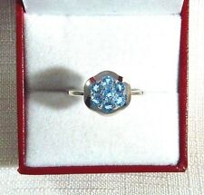0.84ct Natural Sky Blue Topaz 925 Sterling Silver Cluster Ring US (9) AU (R 3/4)
