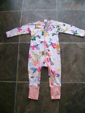 BNWT Baby Girl's Bonds Flowers & Butterflies Zip Wondersuit/Coverall Size 0