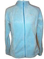 Womens Columbia S Regular  Fleece Jacket Light Blue Polyester Full Zip EUC