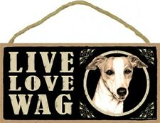 """Live Love Wag Whippet Cute Dog Sign 5""""x10"""" NEW Wood PLAQUE USA MADE 704"""