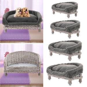 Handmade Wicker Rattan Dog Pet Bed Half Moon Raised Puppy Cat Basket Sofa Couch