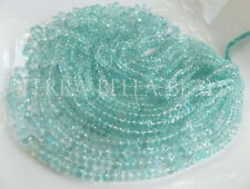 """7"""" strand AAA AQUAMARINE micro faceted gem stone rondelle beads 3mm - 5mm blue"""