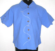 New 100% Cotton Boys Smart Blue Short Sleeve Shirt Top Large 8-10 Years