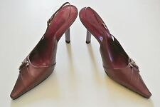Pink Buckled 4-in BCBG Slingback Shoes, Size 7 B