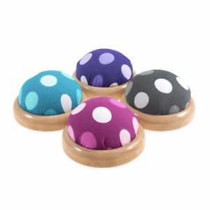 Groves Pincushions with Wooden Bases Polka Dot Design - 4 Colours