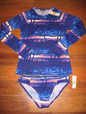 Tommy Bahama 2pc SUNSET SKY Rash Guard & Side Shirred Hipster SMALL $157 NWT