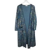Lularoe Elegant Sarah Duster Cardigan Size L Green Gold Paisley Pocket Sweater