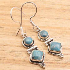 "2 Simulated LARIMAR Stone COMBINATION Earrings 1.7"" ! 925 Silver Plated"