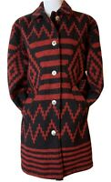 Woolrich Vintage Jacket Womens Aztec Wool Blanket Black Red Long Coat Medium