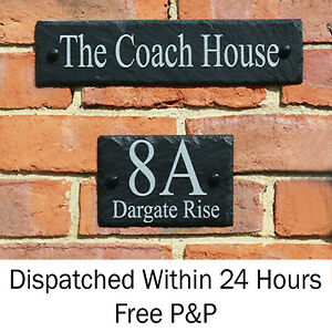 Rustic Slate House Door Gate Number Sign Plaque ANY NAME AND NUMBER