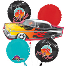CLASSIC 50'S ROCK & ROLL BALLOON BOUQUET PARTY DECORATION BALLOONS CAR RECORDS