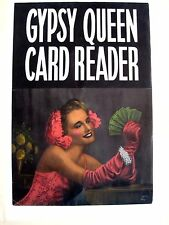 "1940 's ""Gypsy Queen Card Reader"" Arcade Poster w/ Woman Holding Tarot Cards *"