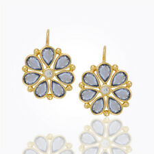 Temple St. Clair Large Flower Earrings w/ Rose Cut Sapphires in 18K Yellow Gold