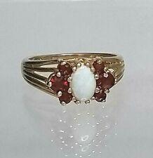 Vintage Garnet & Australian Opal Cluster Ring 9ct yellow gold Hallmarked