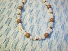 8 1/2 inch NATURAL Color Glass and Stone Bead Bracelet w/ GOLD Spacers E-77