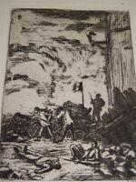 Henri GUERARD (1846-1897) GRAVURE ORIGINALE CHATIMENTS VICTOR HUGO EMEUTES 1875
