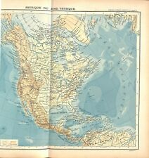 Amérique du Nord Canada Etats-Unis & Mexique superficie comparée MAP CARTE 1896