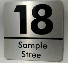 Custom house Address signs Black & Brushed Aluminum / 200mm x 200mm