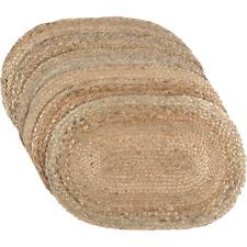 Natural Braided Jute Set of 6 12x18 Placemat Primitive Natural Rustic