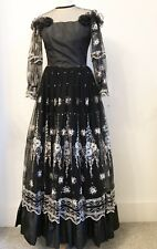 Vintage Black Metallic Floral Embroidered Dress. Small. 70s. Goth Victorian 8
