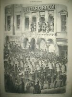 NEW-YORK BILLIARD ROOM POMPIER INDE DELHI VINCENNES ASILE IMPERIAL GRAVURE 1857