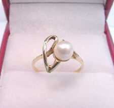 CULTURED AKOYA PEARL 5.37 mm. CREAM WHITE COLOR VINTAGE 10K GOLD PETITE RING