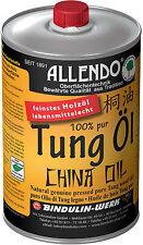 ALLENDO reines Tungöl 1000 ml + Pinsel - Versiegelungsmittel für Holz
