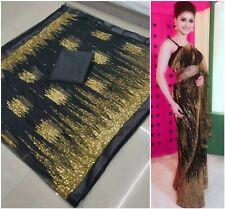 Latest Black Saree Nylon net Saree Heavy Thread work Wedding Party wear sari