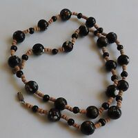 Vintage Hand Painted Red White Green Design on Black Glass Beads Necklace