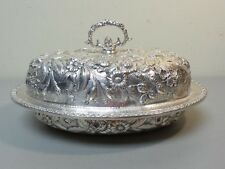 "VINTAGE KIRK ""REPOUSSE"" STERLING SILVER COVERED VEGETABLE / ENTREE DISH"