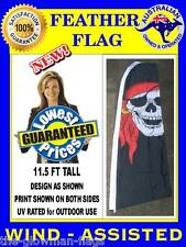 feather flag jolly roger pirate flag for shop food cafe or house - wind assisted