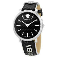 Versace V Circle Quartz Black Dial Ladies Watch VE8100919