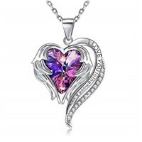 """Heart Crystal Necklace for Women 18"""" White Gold Plated Angel Wing Pendant Gift"""