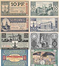 4 Notgeld Scheine Stadt Freiburg Schlesien 1919 - 1921 Lot / Konvolut