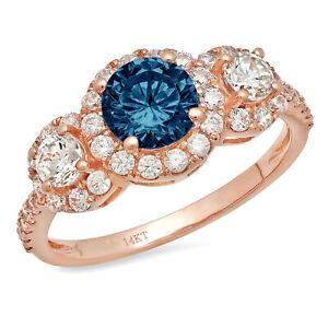 1.75 Round Halo 3stone London  Topaz Promise Bridal Wedding Ring 14k Rose Gold