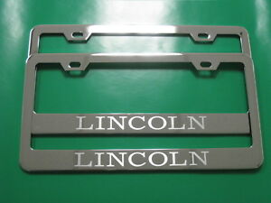 """(2) Brand New """"LINCOLN"""" Stainless Steel Chrome license plate frame w/s.caps (SB)"""