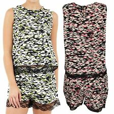 Women Top & Shorts Set Lace Trim Animal Print Ladies Co-Ord Two Piece Flippy