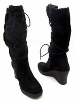 UGG AUSTRALIA Size 11 Black Suede Wedge Lace Up Knee High Boots