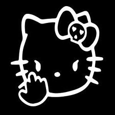 HELLO KITTY PISSED OFF MIDDLE FINGER FUNNY CAT WINDOW STICKER VINYL DECAL #058
