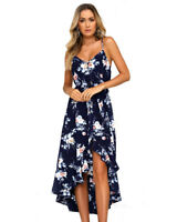 Moxeay Women Summer Floral Spaghetti Strap V Neck High Low Swing Beach Dress