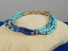 Fossil Brand Rose Goldtone Turquoise Blue Beaded Triple Bracelet JOA00370 $48