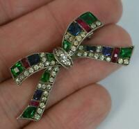 Victorian Solid Silver & Colourful Paste Ribbon Bow Brooch