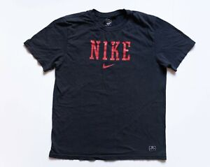 Nike Shirt Men's Large Black Short Sleeve Red Nike Spell Out Swoosh Logo Tshirt